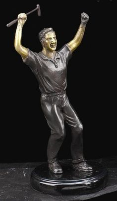 Triumphant Golfer Bronzed Metal Sculpture on Marble Base T.P.