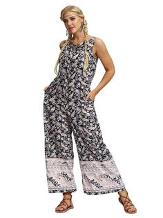 Sky Blue Sleeveless Casual Jumpsuit Long Pants Rompers For Women Casual Jumpsuit, Denim Jumpsuit, Printed Jumpsuit, Long Jumpsuits, Fashion Jumpsuits, Romper Long Pants, Girl Online, One Piece Swimwear, Mode Style