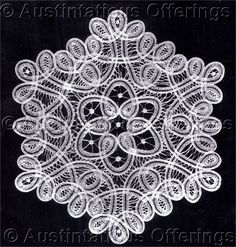 Rare White Brussels Lace Doily Kit Lacemaking Pattern Materials