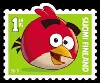 "Angry Bird ""Red"" on Finnish stamp"