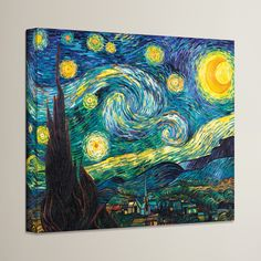 Alcott Hill Starry Night By Vincent Van Gogh Painting Print On Canvas