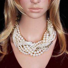 Fashionable Luxury Vintage Style Jewellery Multi Layer String Twist Faux Pearl Rhinestone Choker Necklaces&Pendants