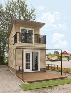 The Eagle A 350 Sq. Steel Framed Micro HomeIn this post I'm excited to share the Eagle 1 micro home with you. It's a 350 sq. two-story, steel-framed tiny house built on a foundation. Tiny House Swoon, Tiny House Cabin, Tiny House Living, Tiny House Design, Small House Plans, Micro House Plans, Cabin Homes, Living Room, Tiny House Movement