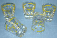 yellow shotglass | Vintage Federal Glass Company Yellow Polka Dot Shot Glass Lot X5 Vintage Toys For Sale, Glass Company, Shades Of Yellow, Shot Glasses, Toy Sale, Polka Dots, Mugs, Tableware, Federal