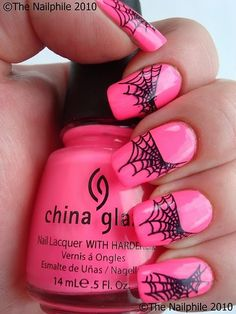 Pink Cobweb nail art perfect for halloween