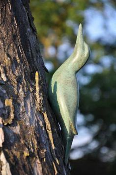 Bronze Birds or Statues #sculpture by #sculptor Lynda Hukins titled: 'Green Woodpecker' #art