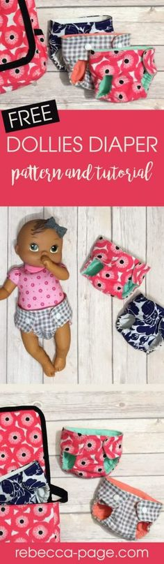 Sewing Toys Free Dollies Diaper Pattern and Tutorial - Mummykins and Me by Rebecca Page - My youngest is currently obsessed with baby dolls. I wanted to make some accessories, so I'm sharing a quick and fun project to make her dollies diaper. Sewing Patterns For Kids, Sewing Projects For Beginners, Sewing For Kids, Free Doll Clothes Patterns, Sewing Ideas, Free Clothes, Doll Patterns, Love Sewing, Baby Sewing