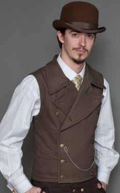 *Licensed from Lastwear for a Limited time only* Even adventurers must be fashionable. Made from rugged canvas, this double breasted vest is de rigeur for anyone even thinking of alighting on an air s Costume Steampunk, Steampunk Vest, Mode Steampunk, Style Steampunk, Victorian Steampunk, Steampunk Clothing, Steampunk Fashion, Steampunk Characters, Double Breasted Vest