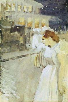 "Anders Zorn ""Natteffekt I"" (1892). Akvarell, 16 x 25 cm. Zornmuseet, Mora."