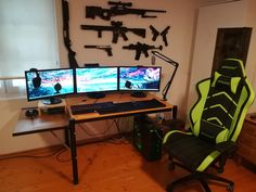 My battlestation is indeed ready for battle. Best Gaming Setup, Gaming Room Setup, Pc Setup, Simple Computer Desk, Computer Desk Setup, Gaming Computer, Custom Gaming Desk, Tech Room, Small Home Offices