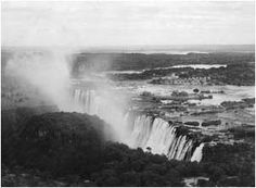 Ref No: Titel: Victoria Falls - Late Victoria Falls, Zimbabwe, Aerial View, Niagara Falls, Africa, History, Nature, Travel, Historia