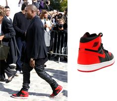 Kanye West Arrives at 2013 Christian Dior Paris Fashion Week Show wearing  Air Jordan Retro 1 Sneakers 7f705b7b7