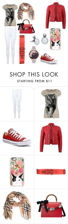 """""""Lauren's screams of insanity outfit"""" by crowraventeen ❤ liked on Polyvore featuring Miss Selfridge, WearAll, Converse, Fendi, Casetify, Lanvin, Burberry, Gucci and Olivia Burton"""