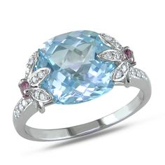 <li>Cushion-cut blue topaz, pink tourmaline and diamond flower ring</li> <li>10-karat white gold jewelry</li> <li><a href='http://www.overstock.com/downloads/pdf/2010_RingSizing.pdf'><span class='links'>Click here for ring sizing guide</span></a></li>