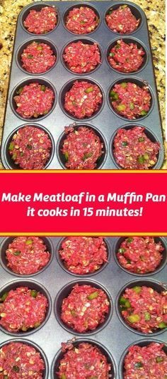 Meatloaf in a Muffin Tin - Meat Recipes Beef Dishes, Food Dishes, Main Dishes, Yummy Food, Good Food, Tasty, Cooking Recipes, Healthy Recipes, Delicious Recipes