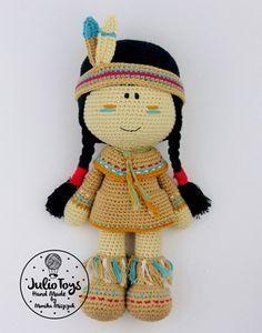 Lozen Indian Girl crochet pattern by Julio Toys