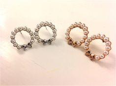 Bow & Pearlescent Beads Hoop Studs by atLittleParis on Etsy, HKD96.00