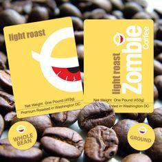 Zombie Coffee by teamstickergiant, via Flickr Zombie Coffee, Customer Stories, Coffee Branding, Coffee Roasting, Custom Labels, Beverages, Beans, Sticker, Packaging