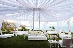 Wow!  What a fabulous mingling area for your guests! Stunning views and loving the all white decor!