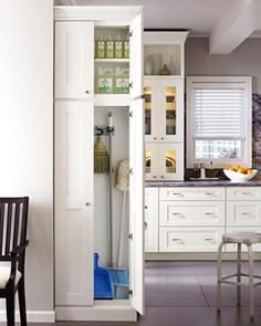 Explore the Martha Stewart Kitchens page for great design ideas. See Martha Stewart Cabinets & other options for the most important room in the house. Small Kitchen Organization, Small Kitchen Storage, Kitchen Storage Solutions, Kitchen Pantry, New Kitchen, Smart Storage, Broom Storage, Organized Kitchen, Closet Solutions