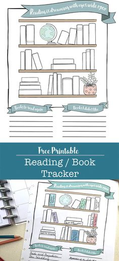 Free Printable Reading / Book Tracker for Your Planner or Bullet Journal Books To Read Bullet Journal, Bullet Journal Printables, Bullet Journal Ideas Pages, Bullet Journal Layout, Bullet Journal Inspiration, Book Journal, Bullet Journals, Planner Book, Planner Layout