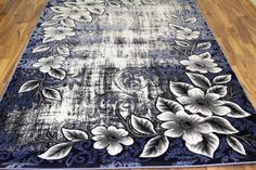 Navy Blue Floral Transitional Area Rugs