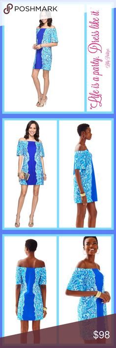 "NWT Lilly Pulitzer Tiana Off Shoulder Dress NWT Lilly Pulitzer Tiana Off Shoulder Dress  The Tiana Dress in Brilliant Blue Moon Jellies Print is off the shoulder and on your wish list this year. We love the mix of print and solid on this A-line fit, flutter sleeve dress.  - Engineered Off The Shoulder A-Line Fit Flutter Sleeve Dress. - 19 1/2"" From Natural Waist To Hem. Printed Lightweight Ponte (60% Rayon, 33% Nylon, 7% Spandex). - Machine Wash Cold. Delicate Cycle. 77 Lilly Pulitzer…"