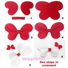 "1. Overlay 2pieces of heart shaped felt. 2. Fold it same way as making bow tie bows. 3. Wrap the center. For detail version, please visit HipGirlClips.com/store. Click ""free hairbow how to"" and then "" bug hair clips"". #ribbonsculpture #hairclips #clips #hairstyle #instahair #fashion #style #stylish #diy #tutorials #instructions #cute #hipgirlclips #beautiful #pictorial #instafashion #pretty #girly #girl #girls #ribbon #jewelry #grosgrain #style #tutorial #hairideas"