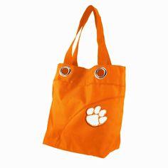 NEW NCAA CLEMSON TIGERS Grommet Sheen Tote / Large Purse Handbag orange #CLEMSONTIGERS