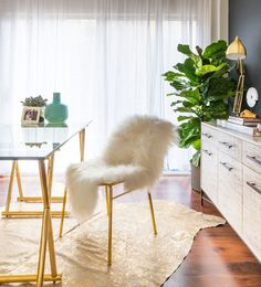 This Home Office Makeover Will Leave You Breathless - Airy Desk - from InStyle.com