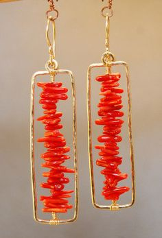 Bohemian 64 Hammered rectangle earrings with red coral. $98.00, via Etsy.