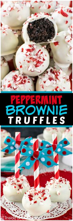 Peppermint Brownie Truffles - white chocolate & peppermint bits add a fun flair to these easy truffles. Great recipe for holiday parties!