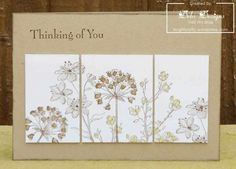 handmade greeting card ... split panel design ... kraft base card ... Simply Soft flowers ... luv the colors blending together and matching the base color ... Stampin' Up!