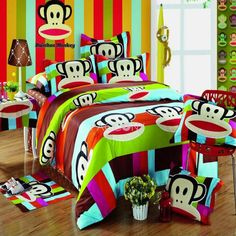 Colorful Paul Frank Cotton 4-Piece Full-Queen Size Duvet Cover Set Kids Bedding Sets, Teen Bedding, Queen Size Duvet Covers, Duvet Cover Sets, Paul Frank, Beds For Sale, Beds Online, Stylish Kids, Printed Cotton