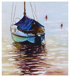 """Boat with blue tarp by Graham Berry Watercolor ~ 11"""" x 10"""""""