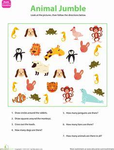 Preschool Math, Preschool Worksheets, Kindergarten Counting, Free Worksheets, Animal Worksheets, Animal Science, Following Directions, Animal Crafts, Special Education