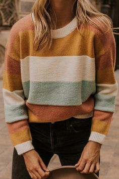 Stripe sweater for women fall sweater outfits roolee holiday winter outfits to wear teen girls 17 ~ thereds me Black Long Sleeve Shirt, Long Sleeve Shirts, Pullover Outfit, Big Sweater Outfit, Sweater Fashion, Sweater Shirt, Sweater And Jeans Outfit, Winter Sweater Outfits, Sweater Nails