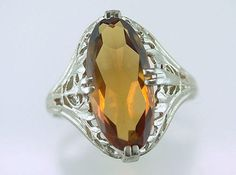 Vintage Antique 5ct Citrine 14K White Gold Art Deco Cocktail Ring by DiamondTen on Etsy https://www.etsy.com/listing/459500820/vintage-antique-5ct-citrine-14k-white