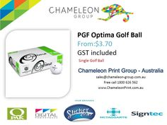 PGF Optima Golf Ball - Chameleon Print Group - Australia  http://chameleonprint.com.au/product/pgf-optima-golf-ball/