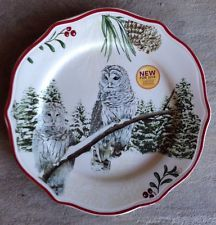 Better Homes u0026 Gardens Christmas Heritage Owl Salad Plate * New 2014 * Multiples & A Christmas Table Setting Inspired by Nature | Plaid Holiday tables ...