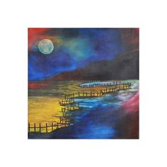 NOVICA Original Expressionist Painting Moon from India ($300) ❤ liked on Polyvore featuring home, home decor, wall art, blue, expressionist paintings, paintings, blue home decor, moon painting, beach wall art and india painting