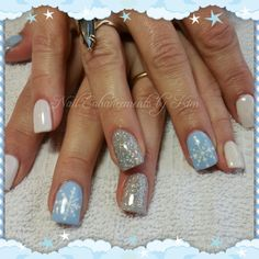 LCN Gel Nails. Inspired by original artist. Blue, Christmas, Snow Flake, Glitter, nail art, not polish. Created by Kimberly Steeves (Speichts)