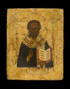 Black  Subject: St Nicholas. The saint is bearded, wears an omophorion to signify his status as bishop, holds a gospel book in his left hand and raises his right in benediction.