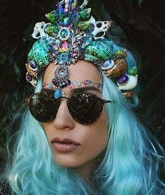 Check out these gorgeous mermaid crowns by Aussie artist Chelsea Shiels! They're made out of seashells, jewels, lace -- all kinds of pretty things. Mermaid Crown, Mermaid Hair, Shell Crowns, Seashell Crown, Chelsea, Head Band, Pretty Mermaids, Burning Man Outfits, Tiaras And Crowns