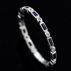 Blue Sapphires Diamond Wedding Ring Band Eternity Milgrain French Cut Baguettes Sapphires Art Deco Stackable Color Stone Thin Delicate Platinum This beautiful stackable mini platinum band is only mm wide and mm tall. This Art Deco replica band co Eternity Ring Diamond, Eternity Bands, Diamond Bands, Diamond Wedding Bands, Gold Bands, Wedding Rings, Bridal Rings, Sapphire Band, Sapphire Wedding