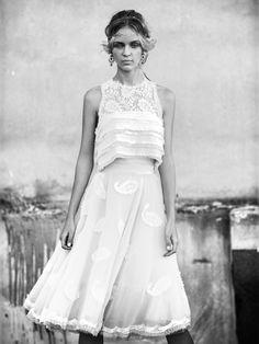 "Beautiful bride wearing Katia Delatola wedding dress, ""Circle of Life"" collection. #shortweddingdress #romanticbride See more http://www.love4weddings.gr/en/new-bridal-collection-circle-life-designer-katia-delatola/"