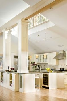 Contemporary Kitchen with Flush, High ceiling, Maple - Winter Neutral 5 in. Solid Hardwood Wide Plank, Large Ceramic Tile