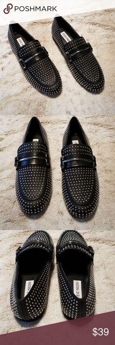 c7037c6daf51 Steve Madden NWOT Black and Silver Studded Loafers inch platform inch  stacked heel Steve Madden Shoes Flats   Loafers