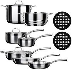"Set includes 8-Inch Fry Pan, 10-Inch Fry Pan with Lid; 3-Quart Saute Pan with lid and handle helper; 1.6-Quart and 3-Quart covered saucepan; 8-Quart stockpot with Lid; Steam insert that fits 3-Quart saucepan and 8-Quart stockpot; Two 6.6"" pot holder. Whole-Clad Tri-Ply Stainless Steel construction eliminates hot spots and ensures even heat distribution along the bottom and side walls of the cookware Stay-cool stainless-steel perfect-grip handle riveted to the pan Duxtop Whole-Clad Tri-Ply…"