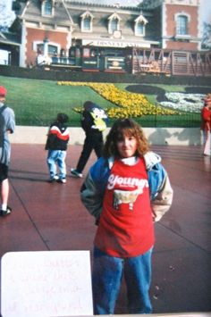 Amy Butler at Disneyland in a Young's Dairy t-shirt